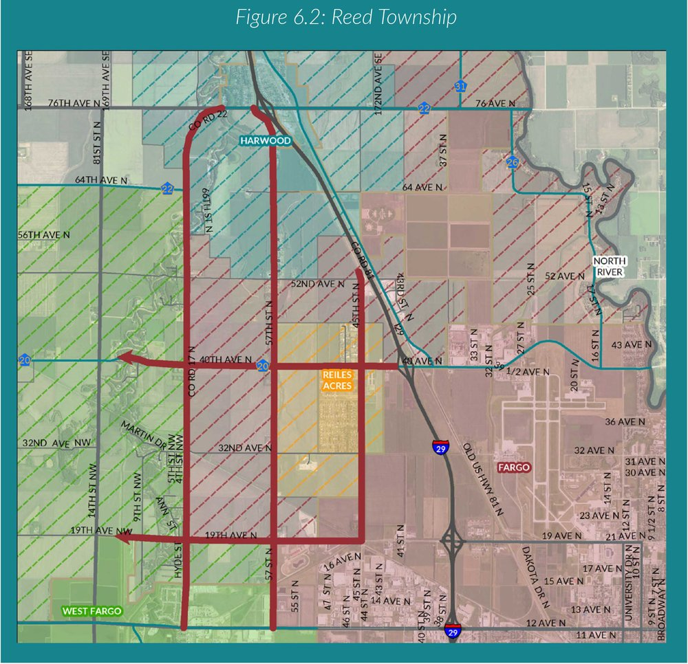 Map of Reed Township included in the Cass County Comprehensive and Transportation Plan.