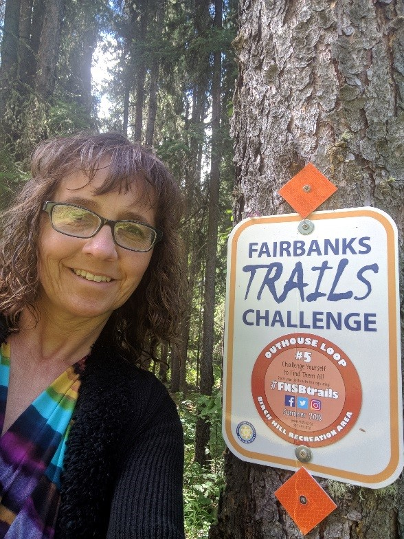 Angela Parker participating in the Trails challenge Fairbanks, AK 2018. Photo courtesy of Angela Parker.