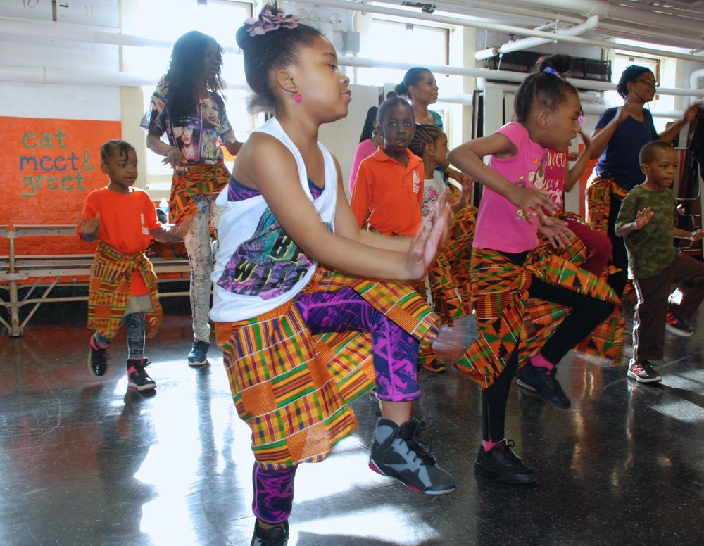 BLES African Dance: Students at Brooklyn Landmark Elementary in Brownsville/Ocean Hills, Brooklyn participate in Bubble MOVES African Dance.
