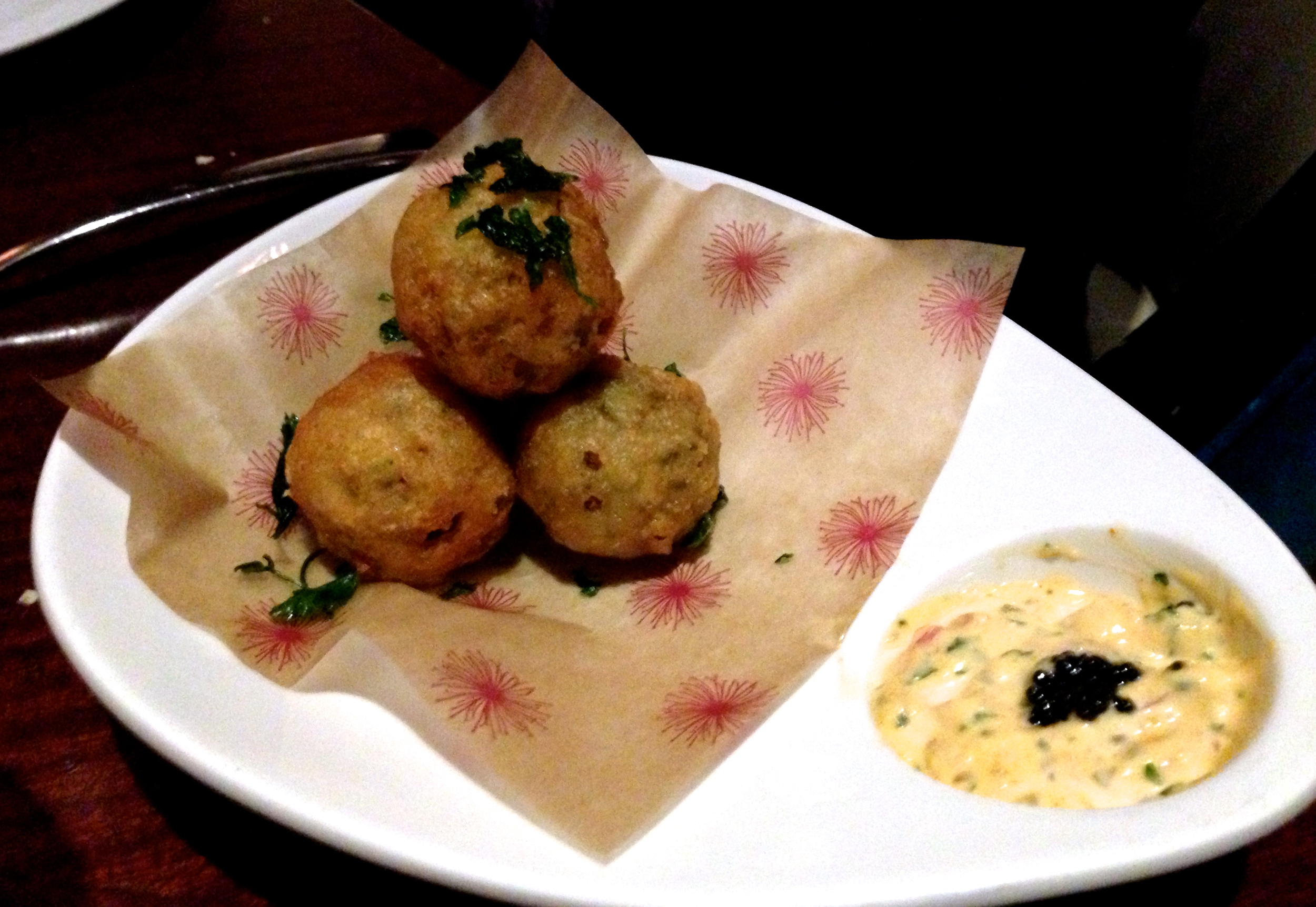 Figure 6. Crab fritters with lobster caviar dip