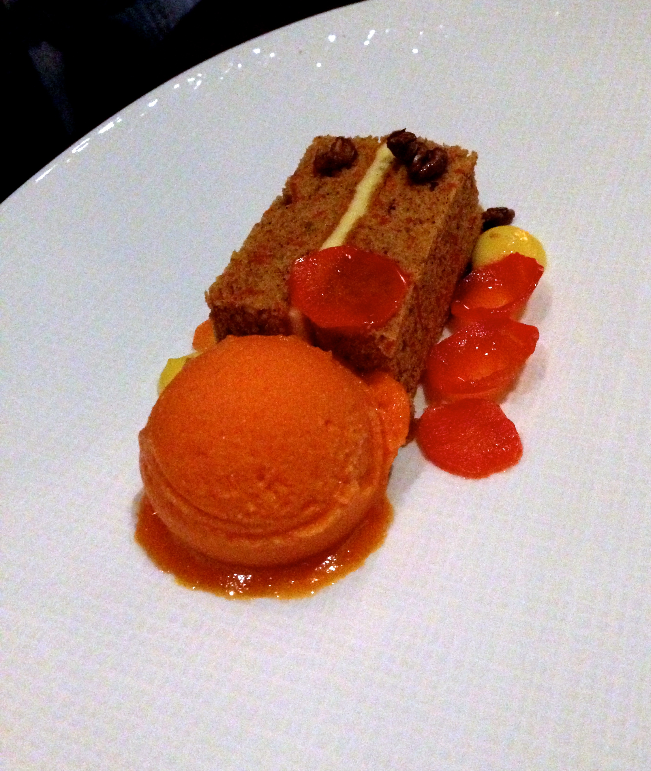 Figure 13. Black walnut carrot cake with carrot sorbet