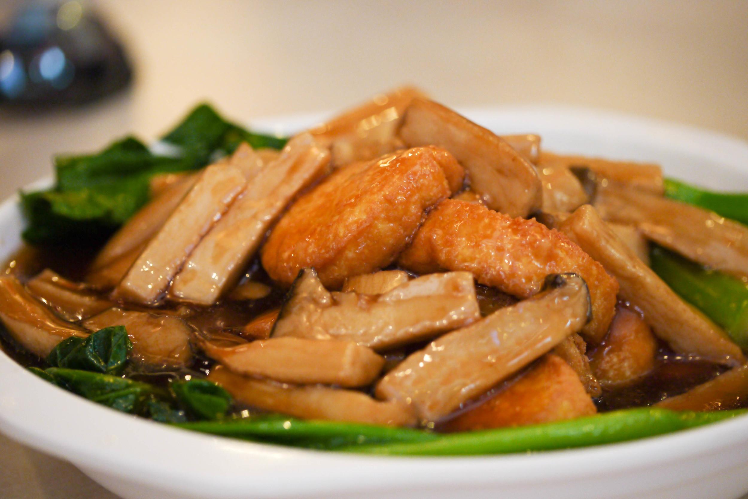 Figure 3. Tofu, mushrooms and Chinese broccoli