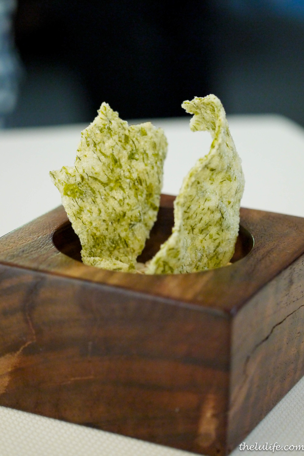 Course #2: Sea lettuce chip to dip into the cooled green tomato mix Loved the texture contrasts!