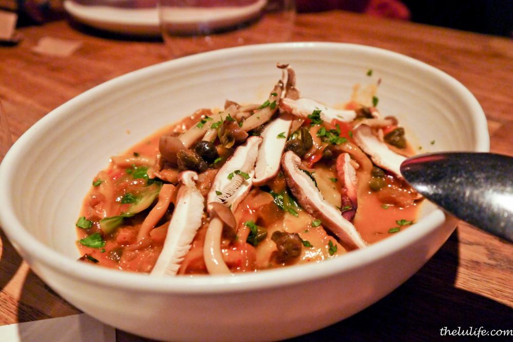 Squash wontons with mushroom ragout