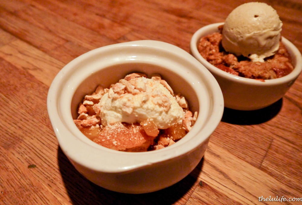 Miso-butterscotch budino of bacon toffee, glazed pineapple and candied cashews