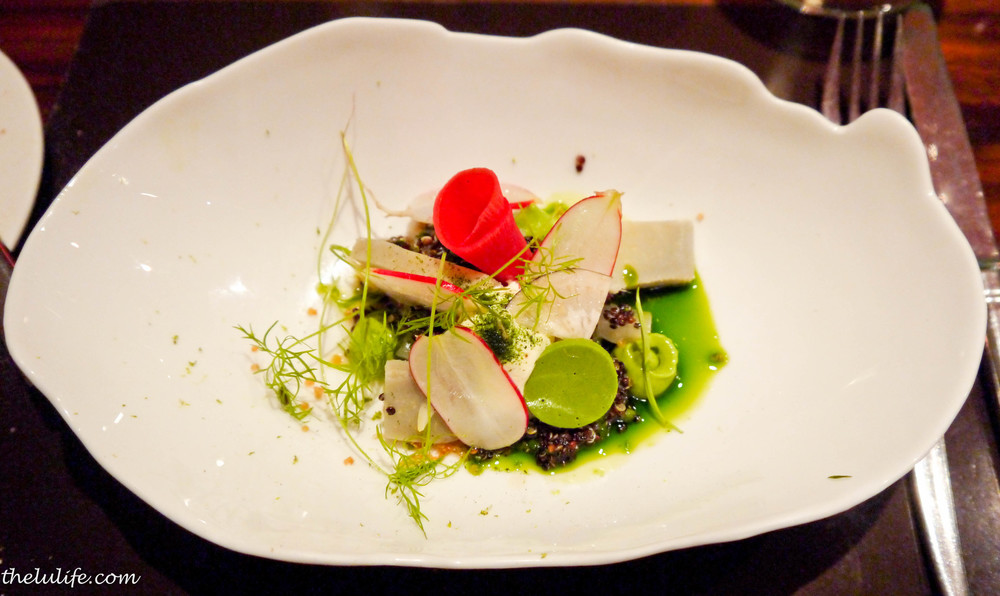 """Carpaccio"" of globe artichokes with black quinoa, creme fraiche, radishes, fennel and dill"
