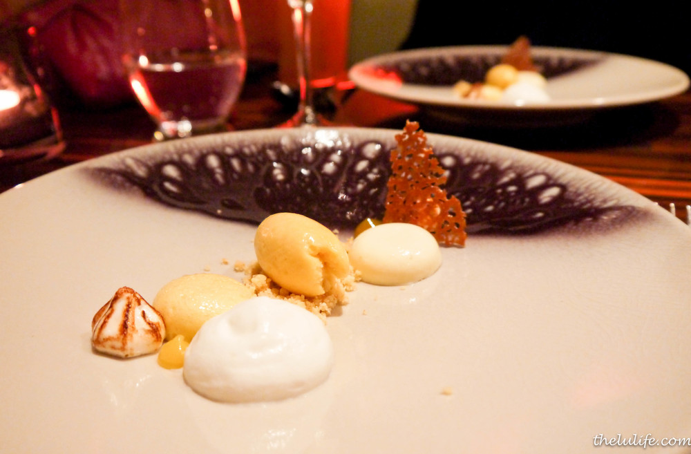 Coconut panna cotta with toasted marshmallow, banana and passion fruit sorbet