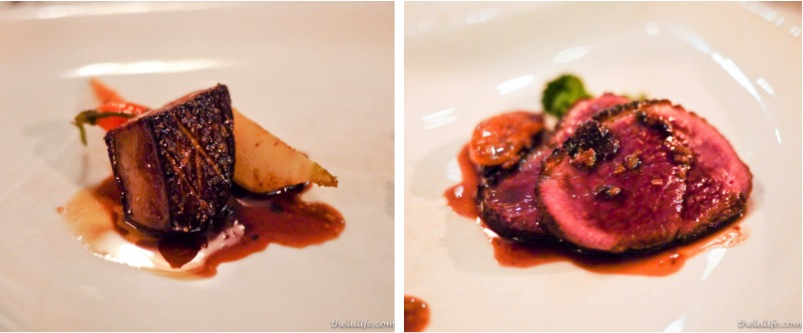 Duck two ways: Left: Fois gras over carrots Right: Seared duck breast and broccoli rabe