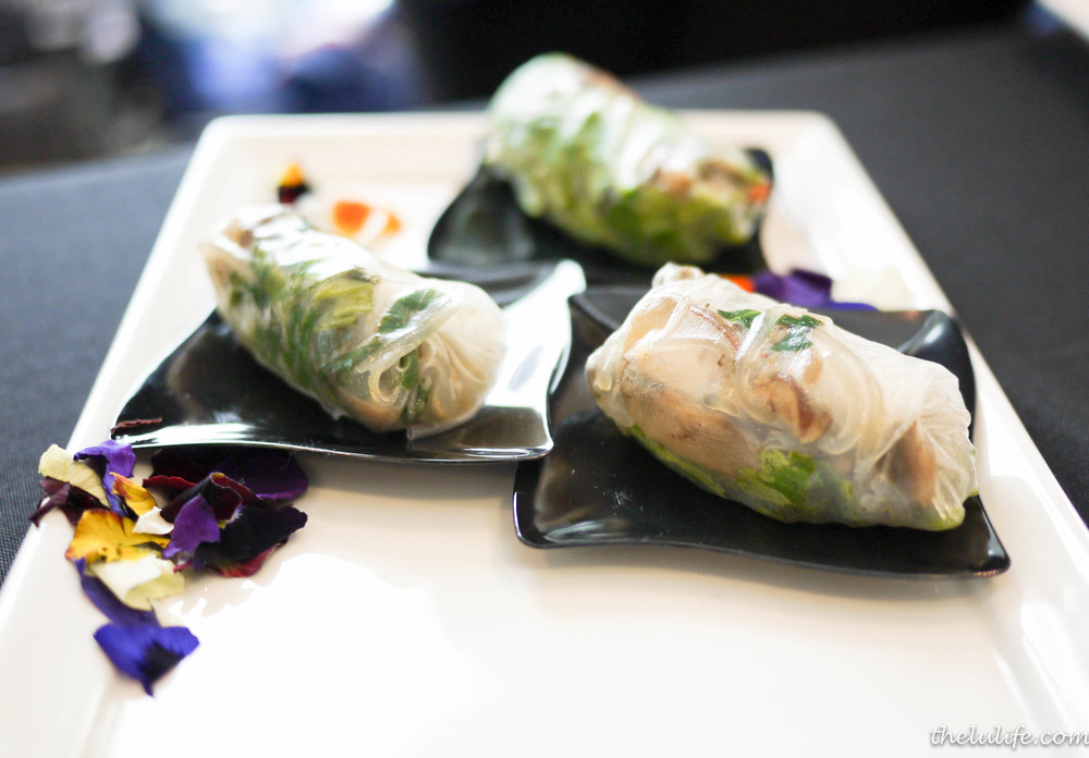 Chilled Asian spring roll with rice crepe, mung bean noodle, shiitake mushroom and cilantro