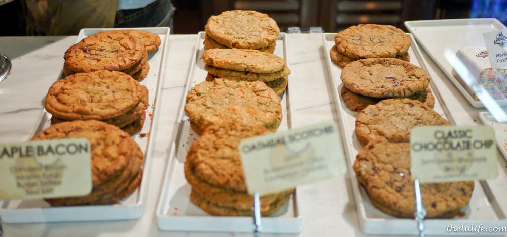 Left: Maple Bacon Cookies Middle: Oatmeal Scotche Cookies Right: Classic Chocolate Chip Cookies