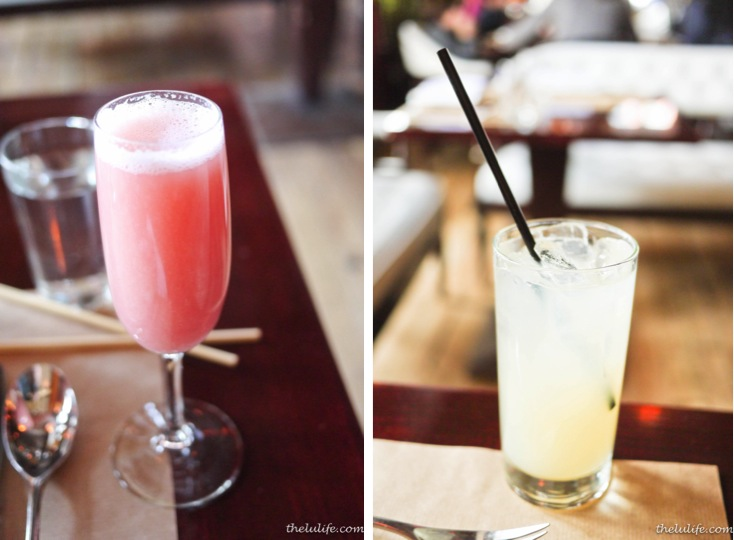 Left: Lychee and raspberry bellini Right: Ginger ale
