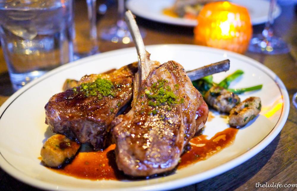 Dakota lamb chops with red wine cipollini, rapini and rye gnocchi