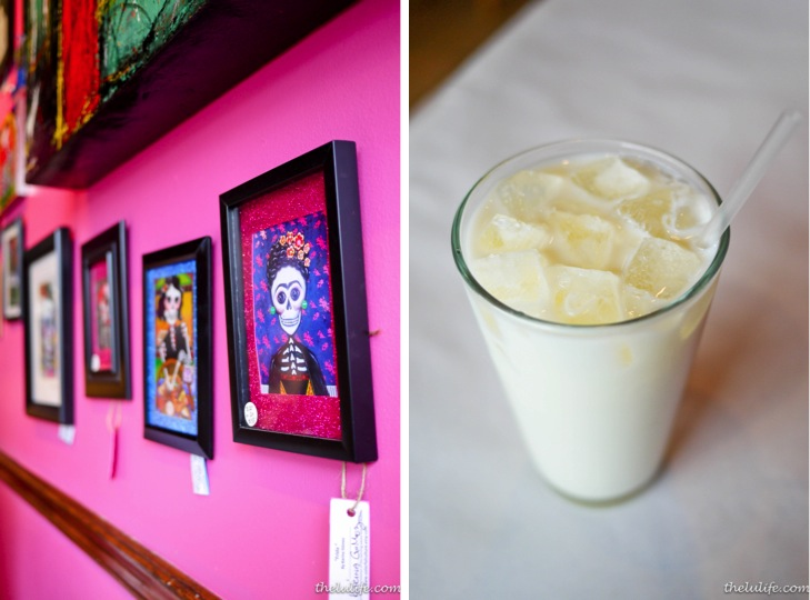 Left: Day of the Dead art Right: Horchata