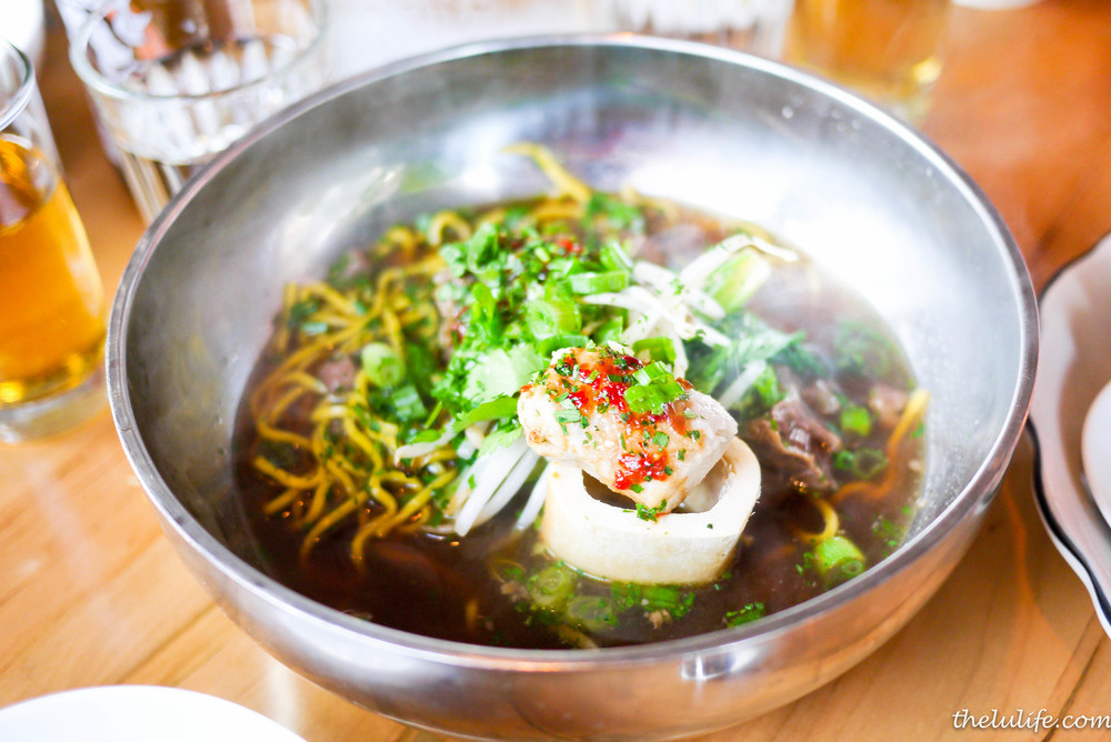 Beef shank noodles - handmade egg noodles, scallion, ginger, doubanjiang and bone marrow