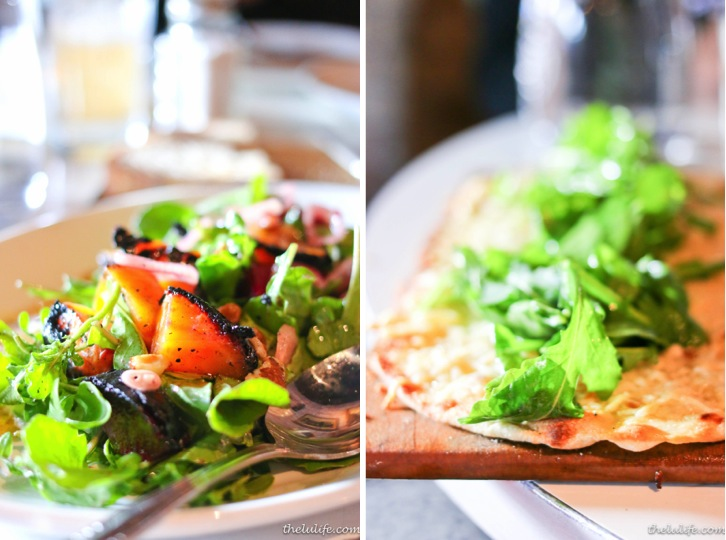 Left: Charred beet salad, prairie fruits goat cheese, black walnuts, mustard greens Right: Arugula and parmesan flat bread