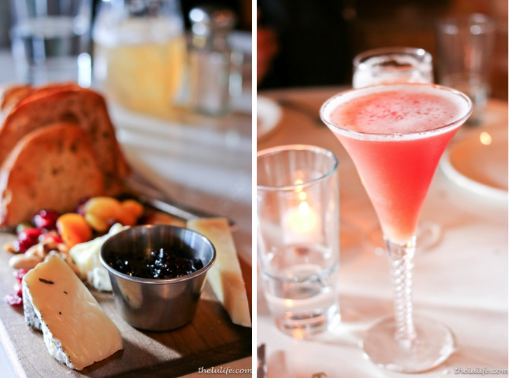 Left: Three cheeses, jam, cranberry and nuts Right: Pisco cocktail