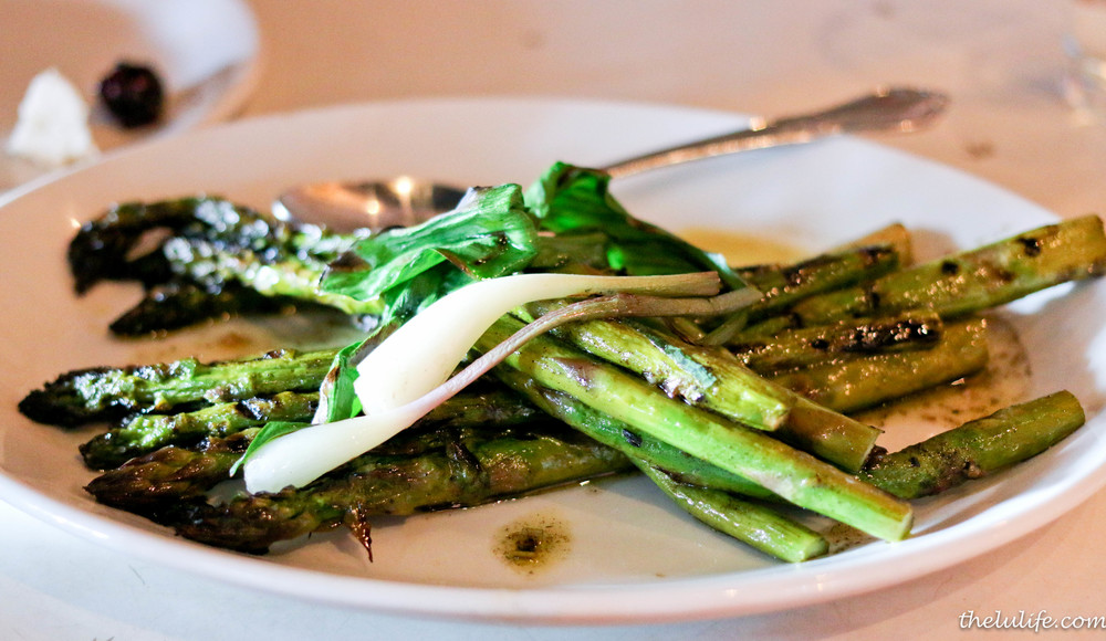 Grilled purple and green asparagus with charred ramp vinaigrette