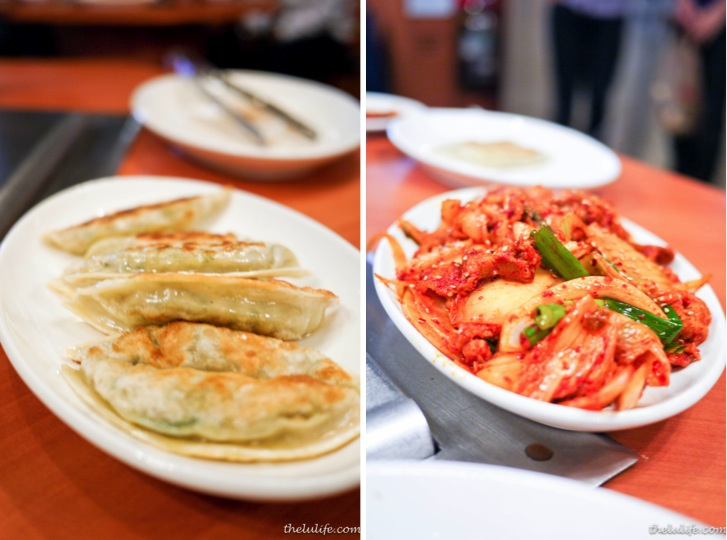 Left: Gun Mandu - pan fried dumplings Right: KimChi SamGyeobSal - Pan stir fried sliced tender pork with kimchi (hot and spicy)