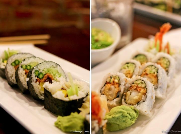 Left: Futo maki - pickled radish, fried tofu, asparagus, cucumber, sweet soy marinated squash Right: Ebi Tempura - tempura shrimp, spicy mayo, cucumber