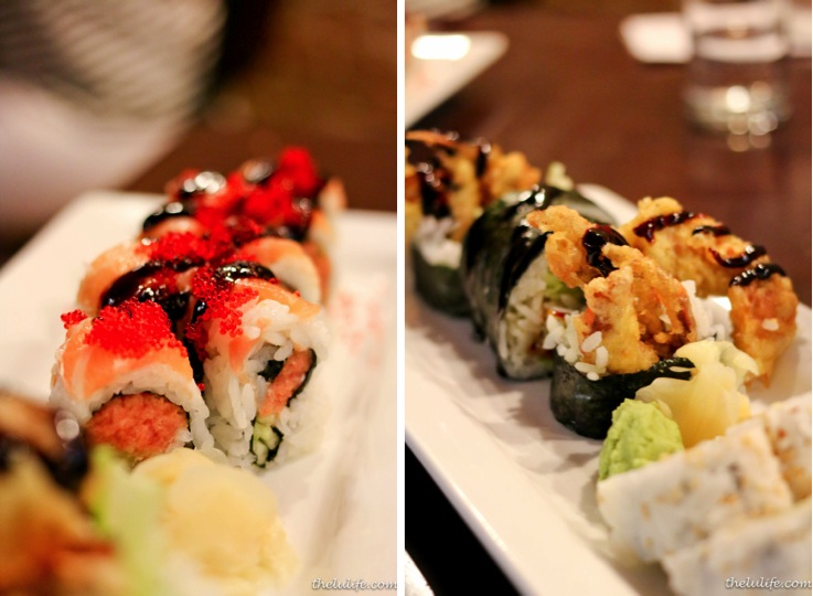Left: Little Red Riding Hood - spicy tuna and cucumber topped with fresh salmon, sweet soy and tobiko Right: Spider roll - deep fried soft shell crab, cucumber and sweet soy sauce