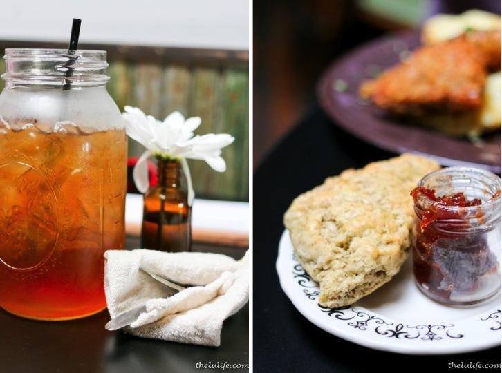Left: Iced tea soda (exotic fruit tea syrup) Right: Jasmine scone and jam