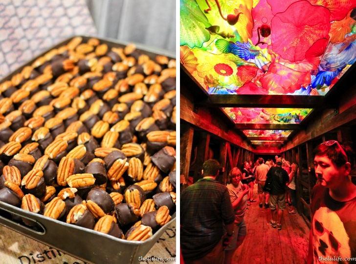 Left: Bourbon chocolates Right: Glass art by Dale Chihuly to celebrate Maker's Mark's 60th anniversary