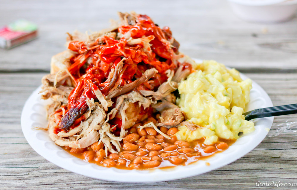 Roast pork, potato salad, baked beans