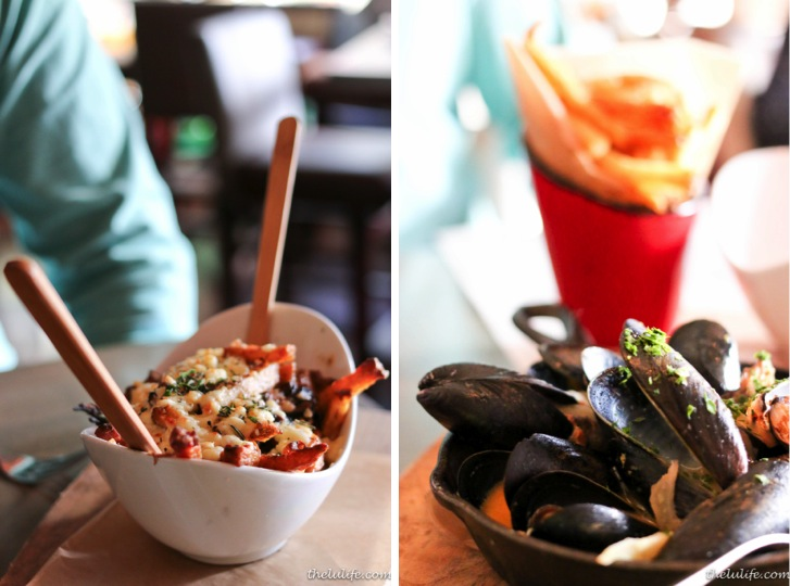 Left: Braised beef cheeck poutine with Kennebec fries and Wisconsin cheese curds Right: Mussels - Clart St. Tart rhubarb saison, ham broth and rye fries