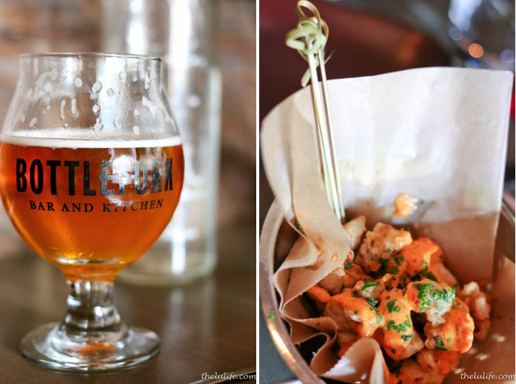 Left: Begyle beer - Clark St. Tart Rhubarb Saison Right: Popcorn sweetbreads with pickled pepper aioli