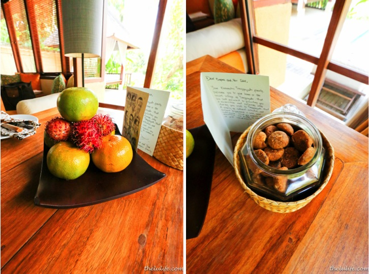 Left: exotic fruits Right: housemade cookies and personal note