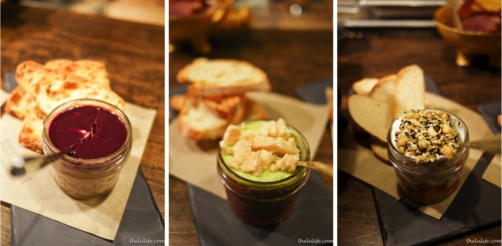 "Left: Chicken liver and foie gras mousse Middle: Tuna crudo with avocado and shrimp cracklin' Right: Smoked salmon layered ""parfait"""