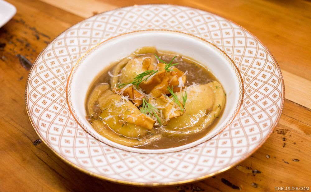 Ricotta stuffed gnocchi with crispy sunchokes, mushroom butter and mint