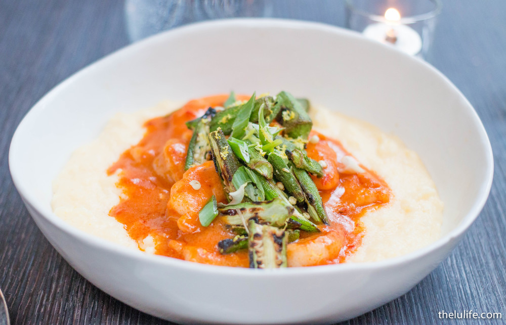Shrimp and grits - creamy grits, n'duja sausage, grilled okra