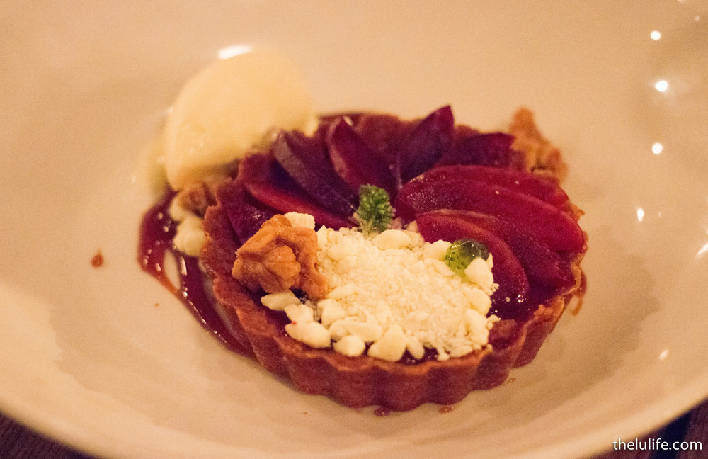 Blood plum tartlet - butternut sage ice cream, white chocolate crumble, fried walnut, almond flour crust