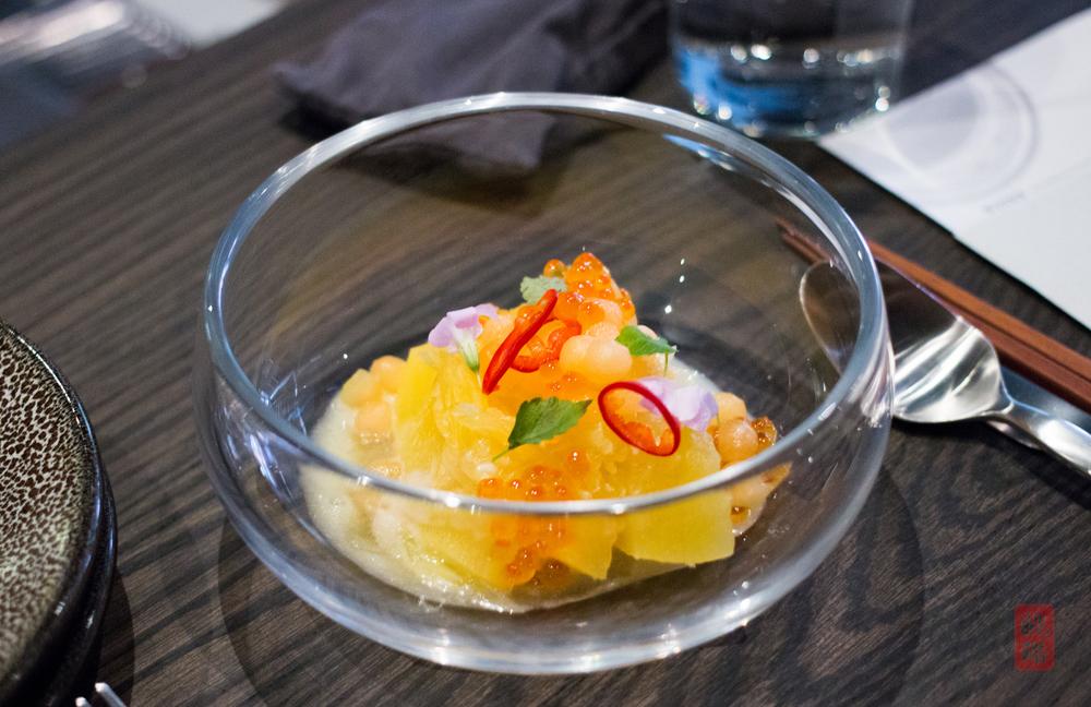 Squash slaw - pineapple rice milk, fresno chilies, melon, roe
