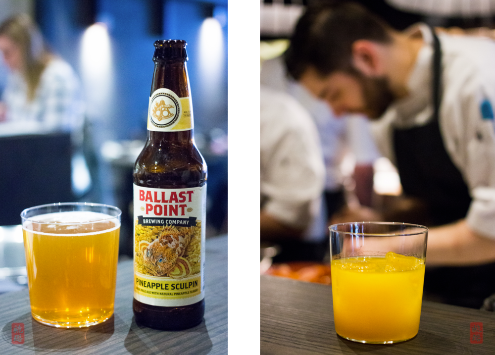 Left: Ballast Point Pineapple Sculpin; right: Simon Says: Drink This