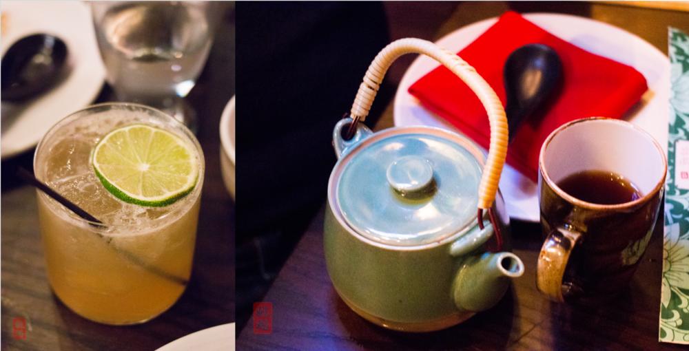 Left: Cocktail; right: Duck Duck Goat pu-erh tea