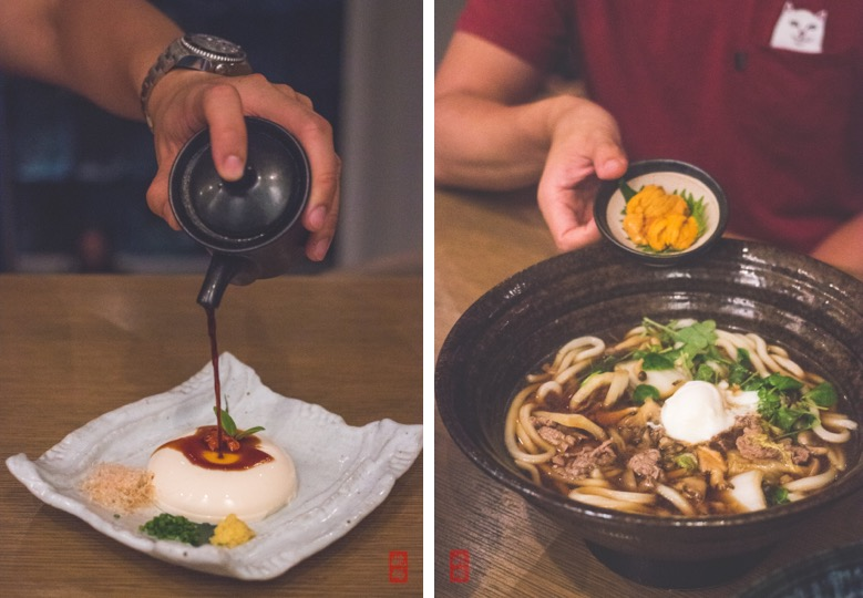 Left: Silken tofu with chives, bonito flakes and ginger; right: US Wagyu and mushroom sukiyaki udon with enoki mushroom and veggies