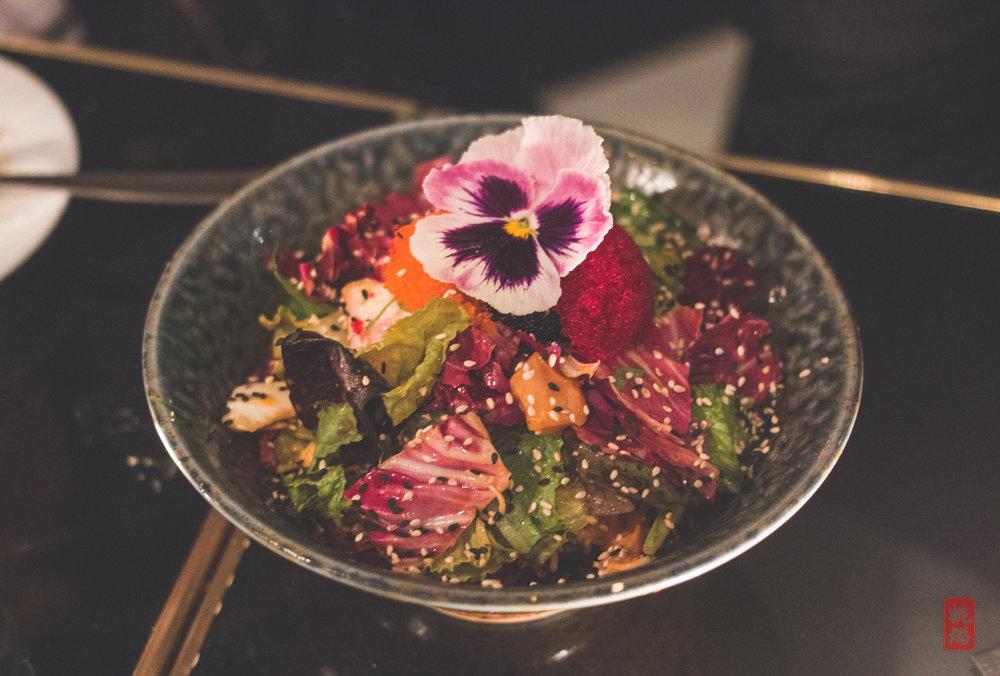 Hanabi salad - hamachi, rainbow caviar, kani, lettuce