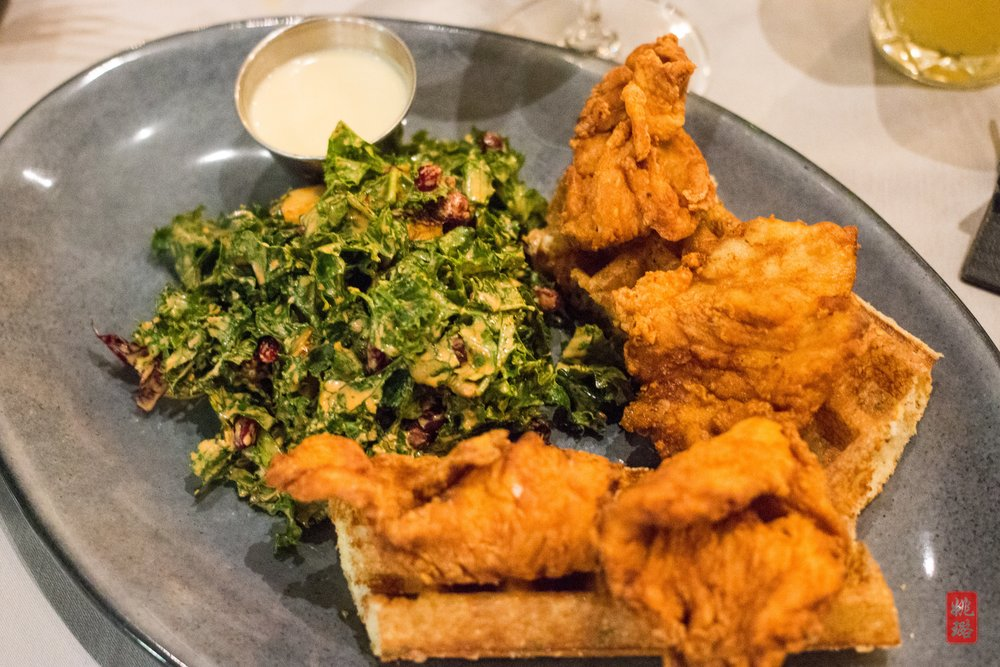 IMG_1864 Black Barn - Fried chicken and waffles with parmesan-rosemary, Vermont maple butter syrup, and kale and roasted squash salad_2.jpg