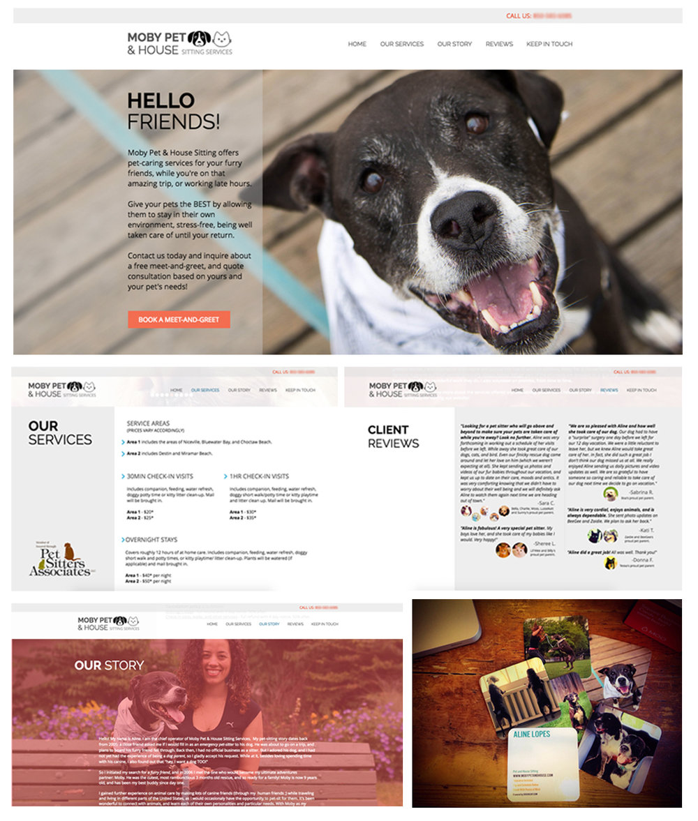 Client: Moby Pet & House Sitting Services | Pet Care - Before committing to the business of freelance, I owned and operated very fun, very rewarding business for almost 2 years.Moby Pet & House Sitting was my way a combination of engaging into my love of animals and making sure my clients (