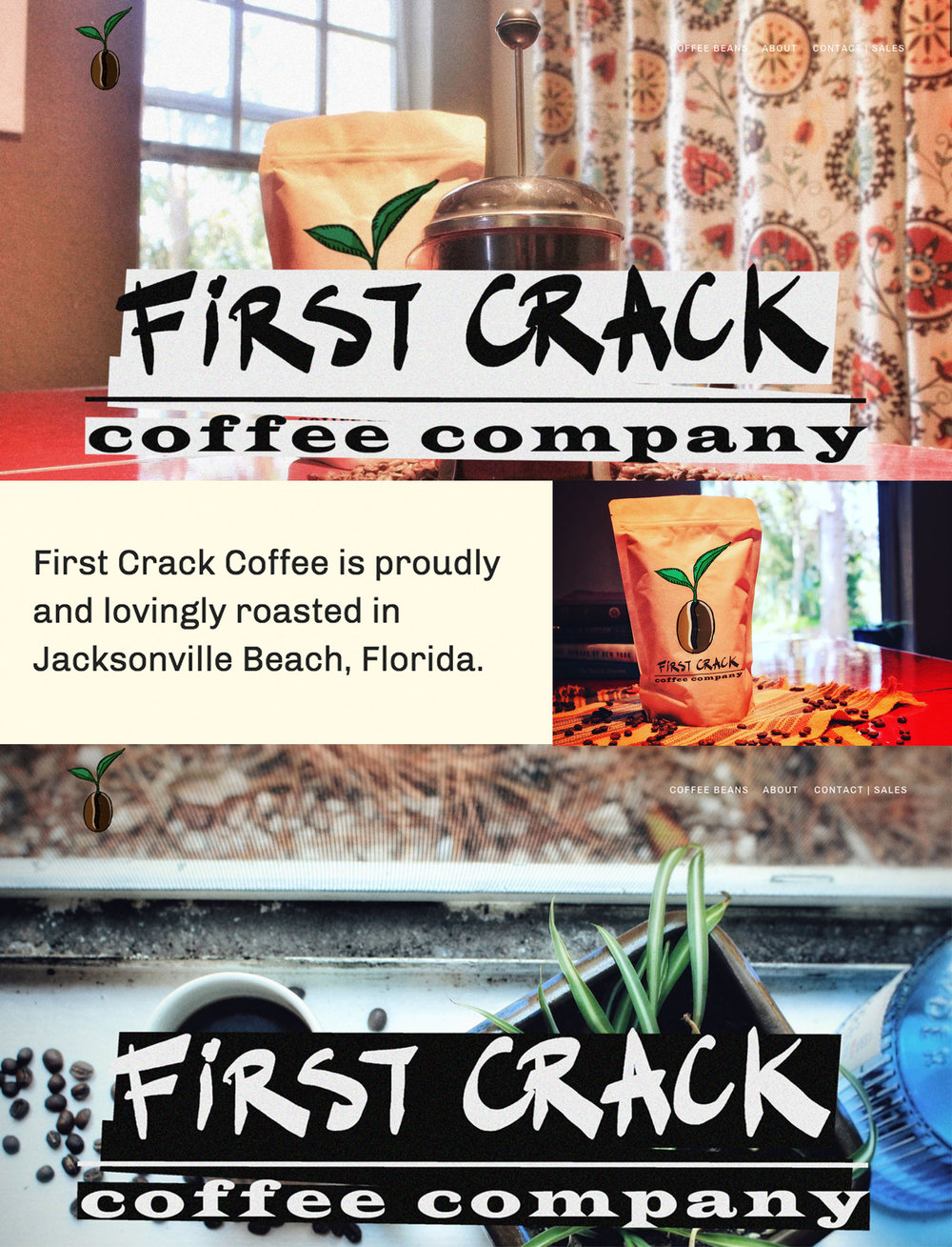 Client: First Crack Coffee Company - Branding consultant, graphic/web-designer and social media manager for the local coffee roasting start up.Deliverables: company's logo, website, Facebook page, Instagram feed.