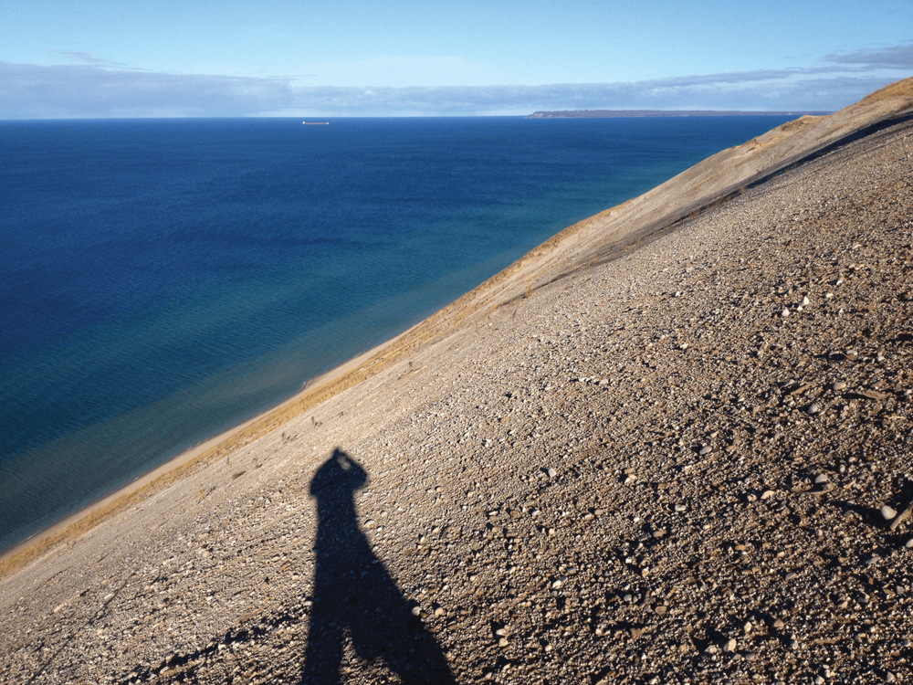 Self-portrait with Lake Michigan, 2013
