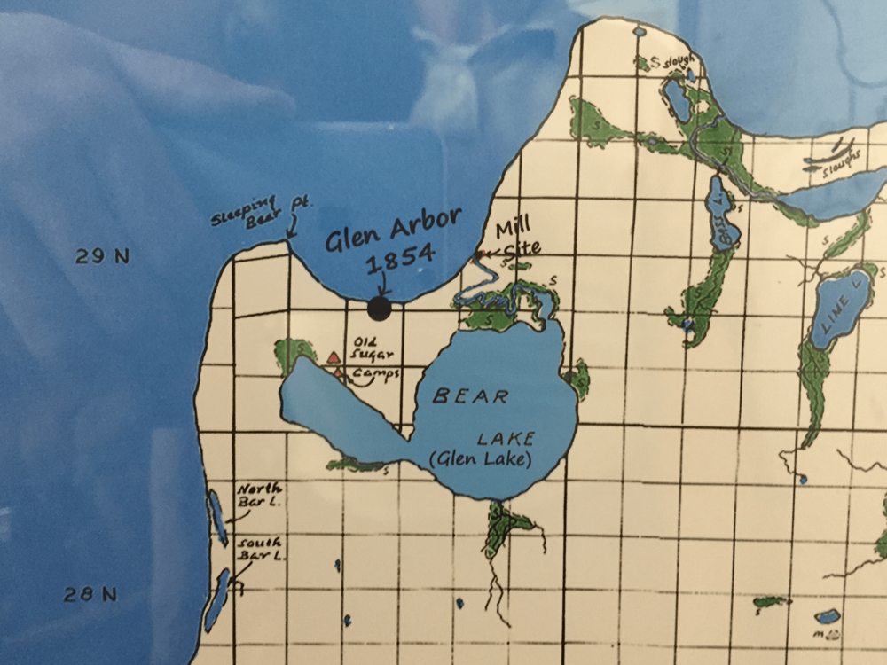 A map at the Empire Area Museum shows Anishinaabek sugar camps along the shores of Glen Lake.