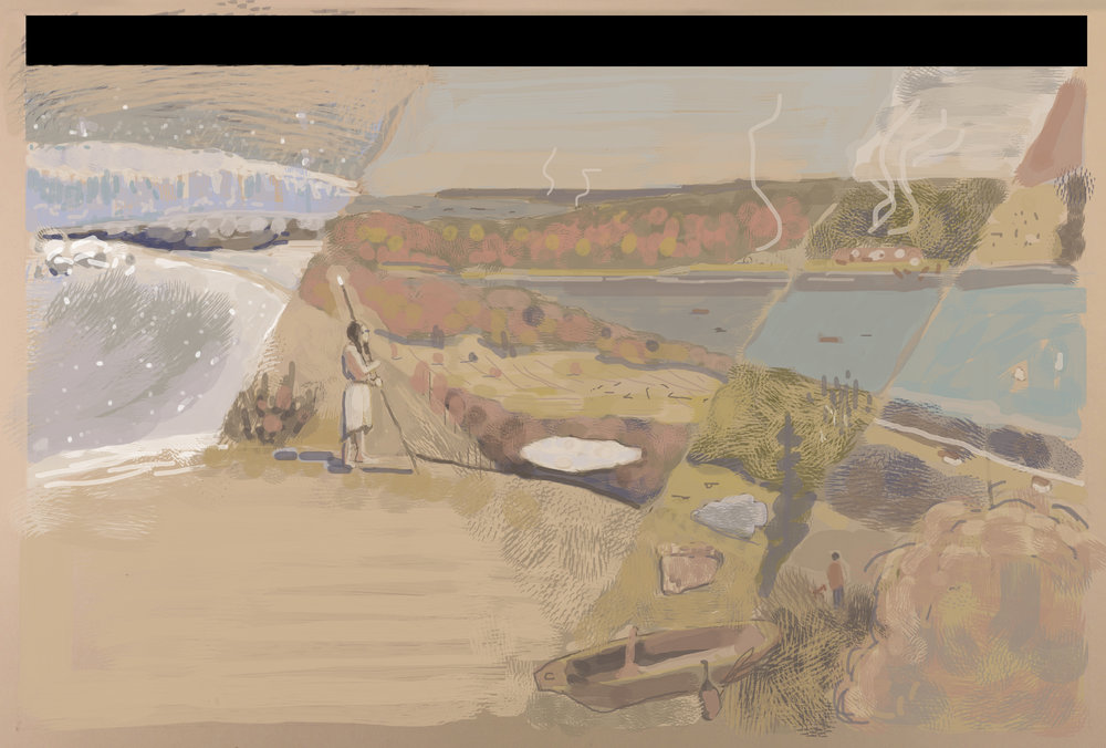 Before starting on the final paintings, I made digital color sketches to plan how I'd distribute my chosen palette across each composition.