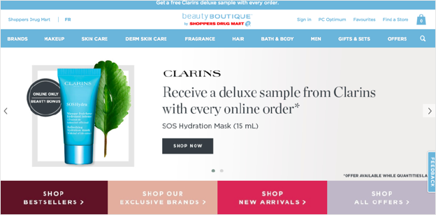 Example of display banners on beautyboutique.com