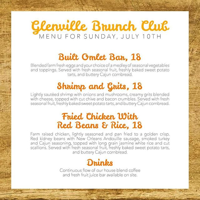 We've tempted your taste buds all week with our Glenville Brunch Club menu, and here we are again, this time with the full spread! Get ready as you sip from our continuous flow drinks under shaded tables while our chefs prepare 1 of our 3 dishes for you on site! Tickets for the sit down brunch must be purchased in advance to attend. Visit the link in our IG bio to reserve your spot today!