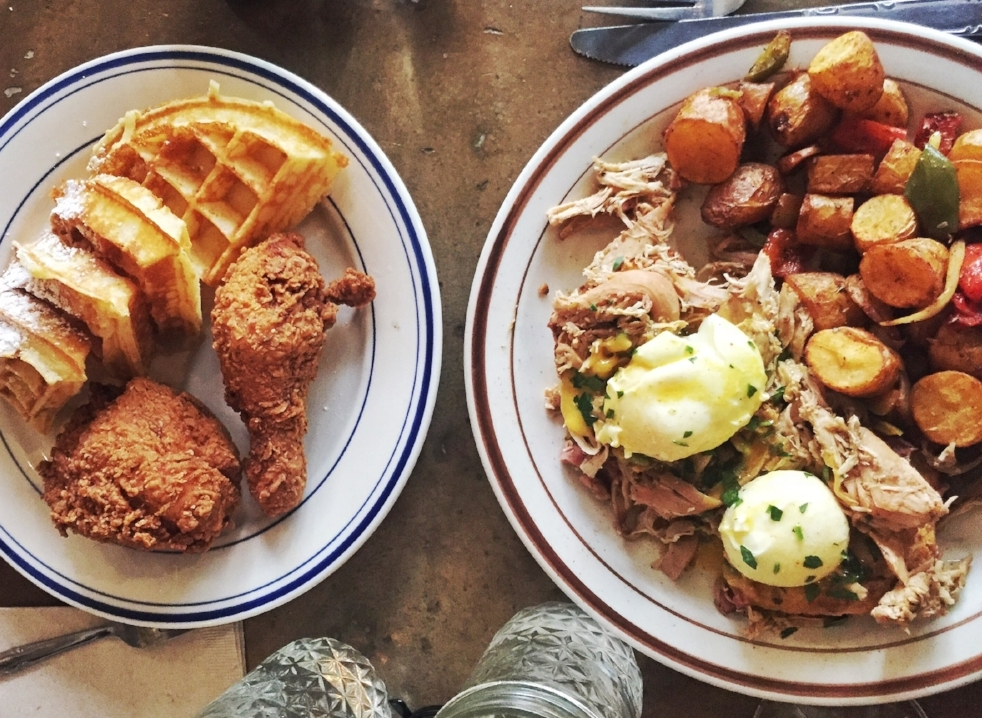 paired this chicken & waffles and eggs benny with a nice loooong walk afterwards  //  sweet chick  on ludlow