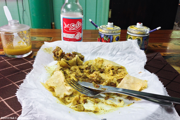 End Of the Meal | Goat Curry Roti @ Singh's Roti Shop in Georgetown, Grand Cayman.