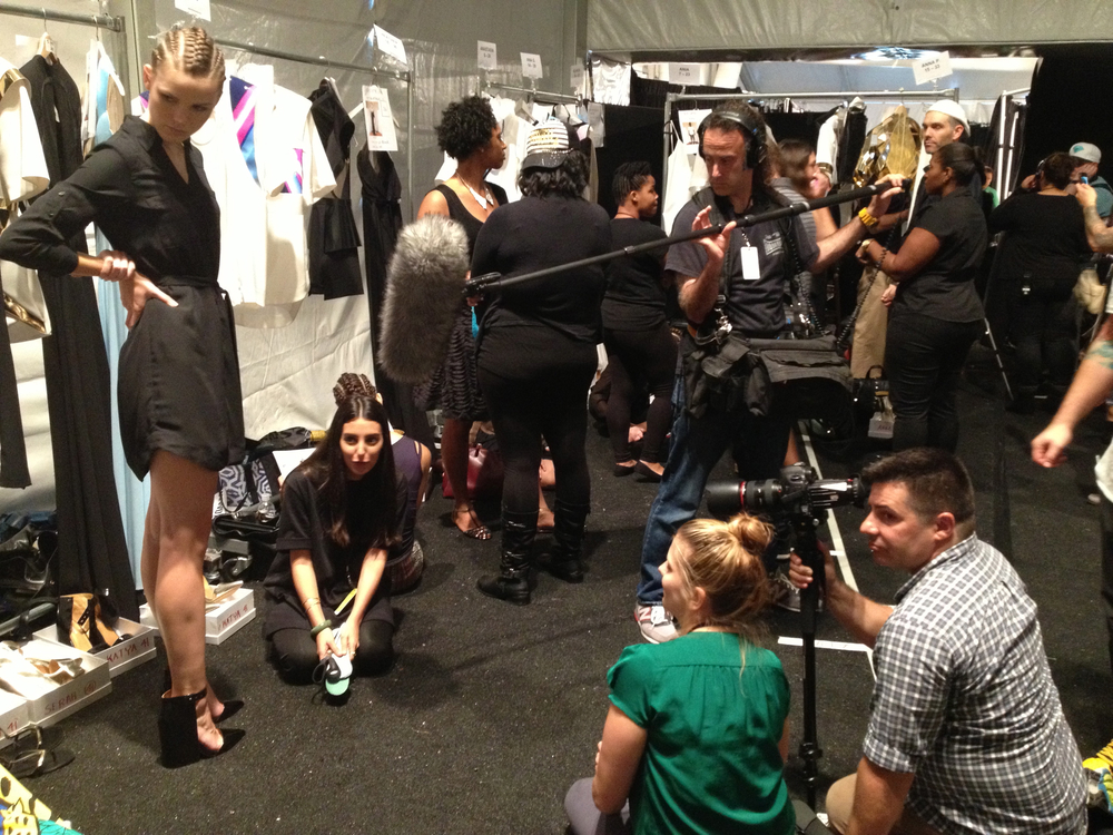 "With Director Rebecca Hamm filming at New York Fashion Week, interviewing models backstage of the Alon Livne show for our ""Fashion Week"" docs."